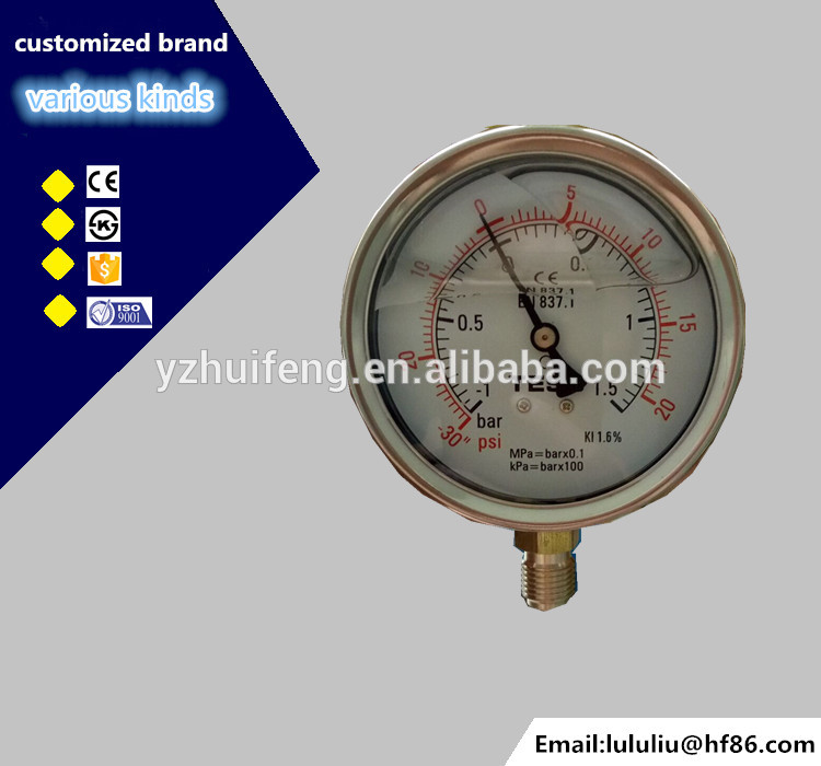 HF High quality 4 inch stainless steel vacuum pump pressure gauge with bottom mounting
