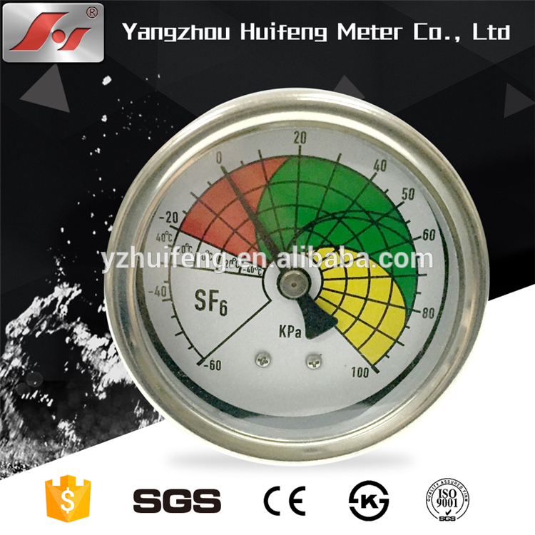 HF High quality stainless steel case glycerine or silicone oil liquid filled SF6 pressure gauge