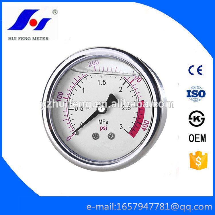 HF All SS Hydraulic Fuel Calibration Gas 0-400psi/MPa Manometer Steam Boiler Pressure Gauge