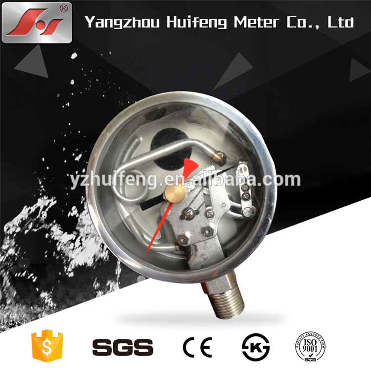 HF 100mm high quality factory price all stainless steel DIN CASE type pressure gauge with radiator