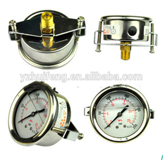 HF Stainless Steel Oil Filled Manometer Panel Mounting Hydraulic Pump Pressure Gauge