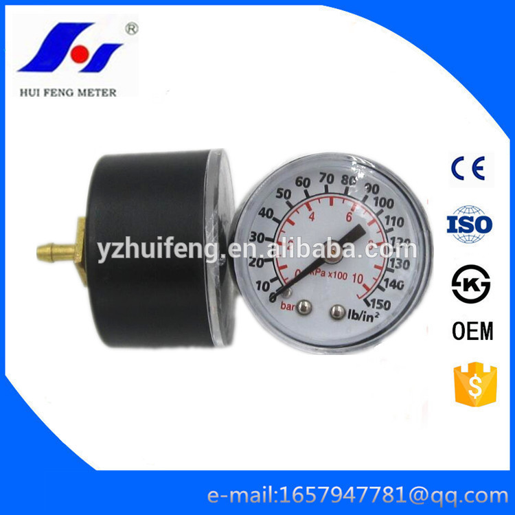 HF Black ABS Case Bourdon Tube Acrylic Plastic Window Back Brass Connector 0-150lb/in2/bar Pressure Gauge