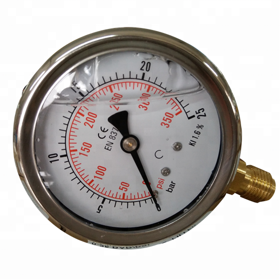 HF 60mm 16Mpa high quality glycerine or silicone oil filled water manometer kl.1.6 pressure gauge