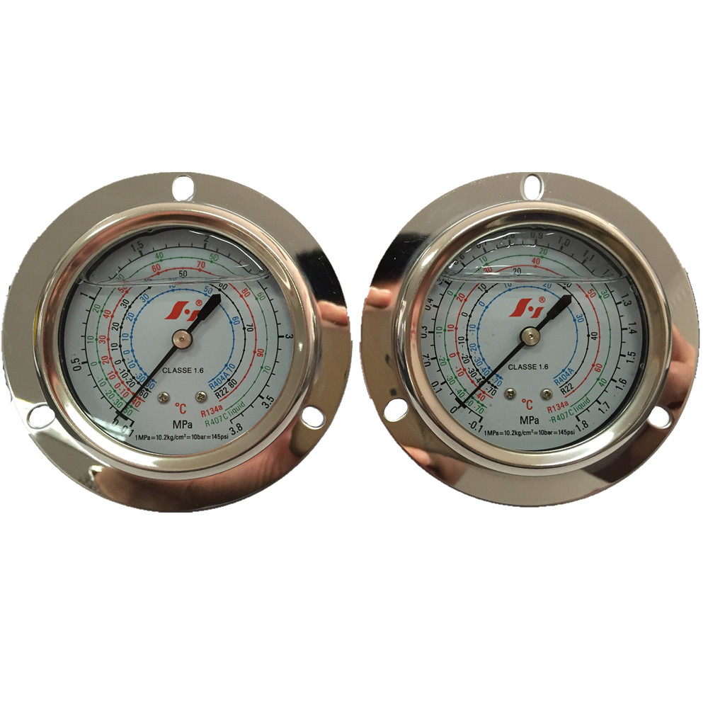 HF 63MM flanged hongsen air conditioning high low pressure gauge