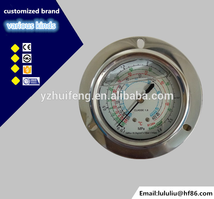 HF 2.5 inch stainless steel brass internal refrigerent vacuum Pressure Gauge with back mounting