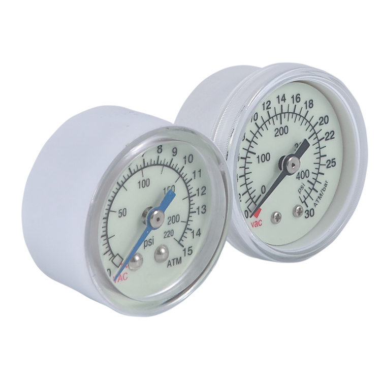 "HF 1.5"" white plastic case 40mm 0-30atm 0-40atm 0-15atm medical balloon inflation device pressure gauge"