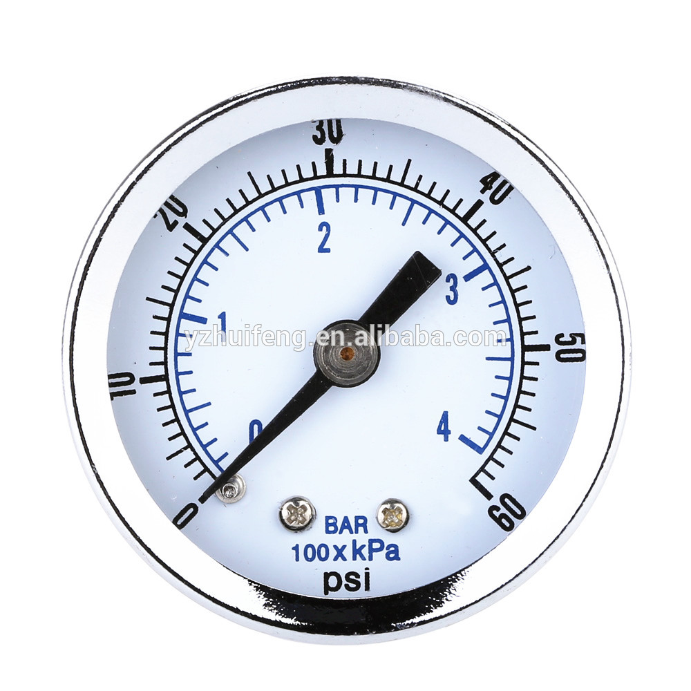 "HF 0-60PSI/4BAR Back Mount 1.5"" Dial Plate Air Compressor Hydraulic Mini Vacuum Pressure Gauge"